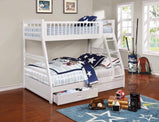 Ashton White Twin-over-Full Bunk Bed - Furniture Lobby