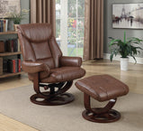 Transitional Chestnut Chair with Ottoman - Furniture Lobby