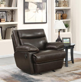 MacPherson Brown Leather Glider Recliner - Furniture Lobby