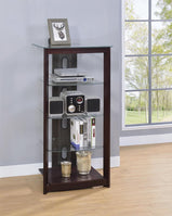 Dark Brown Media Tower With Glass Shelves - Furniture Lobby
