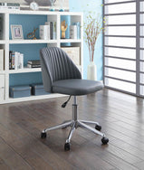 Modern Grey Channeled Back Office Chair - Furniture Lobby