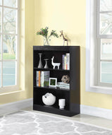 Transitional Cappuccino Three-Shelf Bookcase - Furniture Lobby