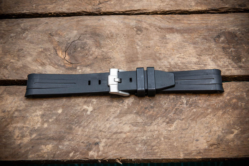Rubber watch strap , Black, 20, 21 mm