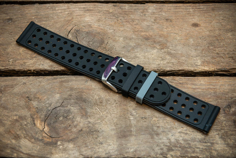 Rubber watch strap , Black Racing, 22 mm