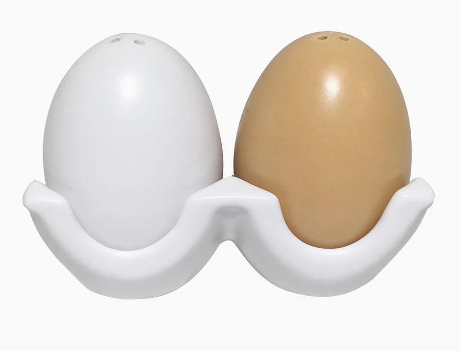 Egg-Shaped Salt & Pepper Shakers With Carton