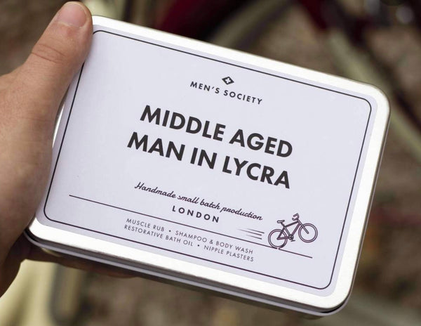 Middle Aged Man In Lycra - Cycling Recovery Kit