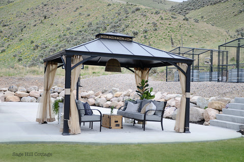 Sunjoy 10.5 ft. x 12.5 ft. Brown Steel Gazebo with 2-tier Hip Roof Hardtop and Curtains