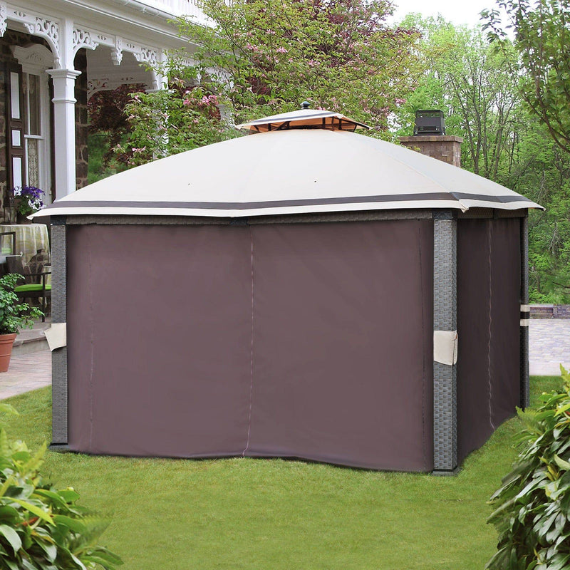 Sunjoy Brown Replacement Curtain For Easy Up Wicker Gazebo (10X12 Ft) L-GZ815PCO-F Sold At Lowe's