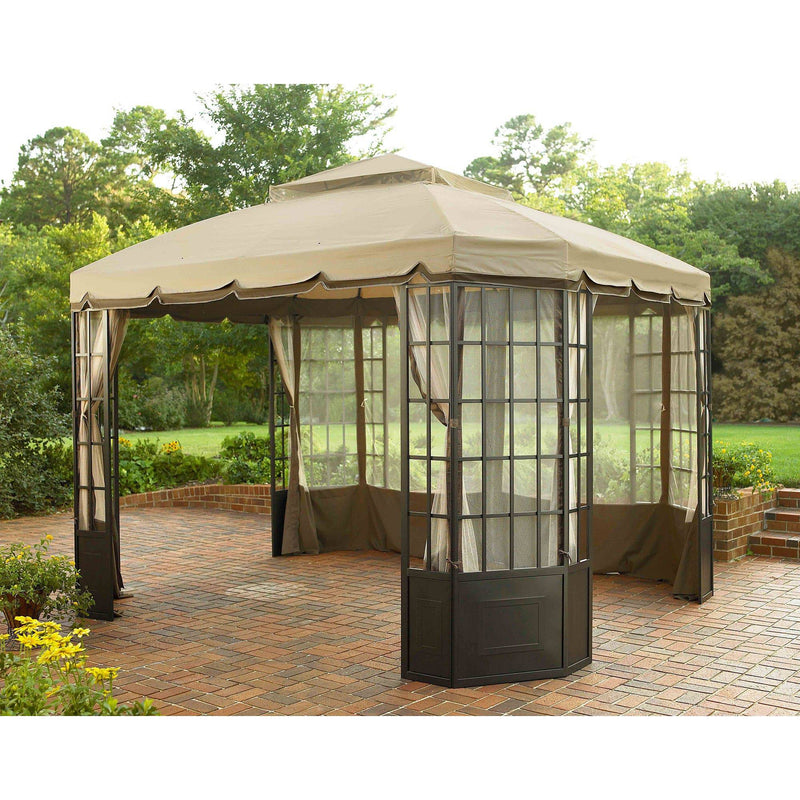 Sunjoy Beige Replacement Canopy For Bay Window Gazebo (10X12 Ft) L-GZ120PST-2K Sold At Sears&Kmart