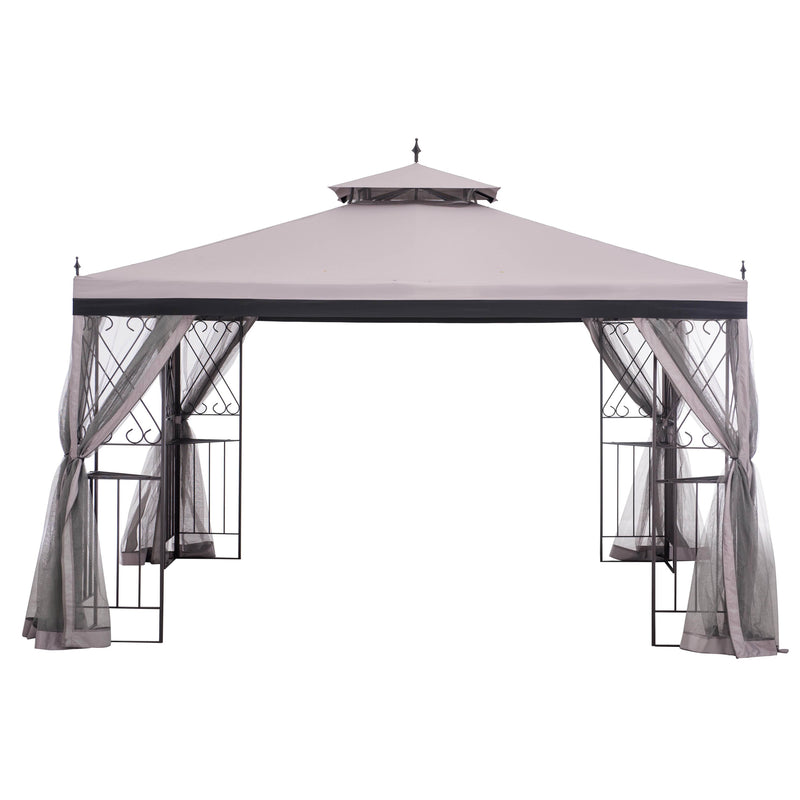Sunjoy 10 ft. x 10 ft. Steel Pergola with Natural Wood Looking Finish and Adjustable Tan Shade.
