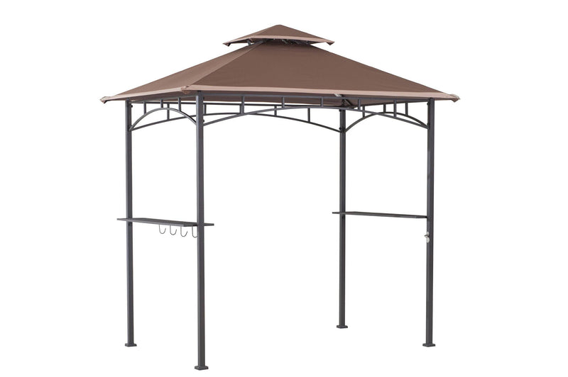 Sunjoy 10 ft. x 8 ft. Black Steel Classic Pergola with Adjustable Beige Shade.