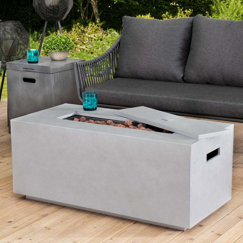 Sunjoy Modern 42 in. Rectangular Gray Concrete Propane Powered Fire Pit Table with Lava Rocks and Protective Cover