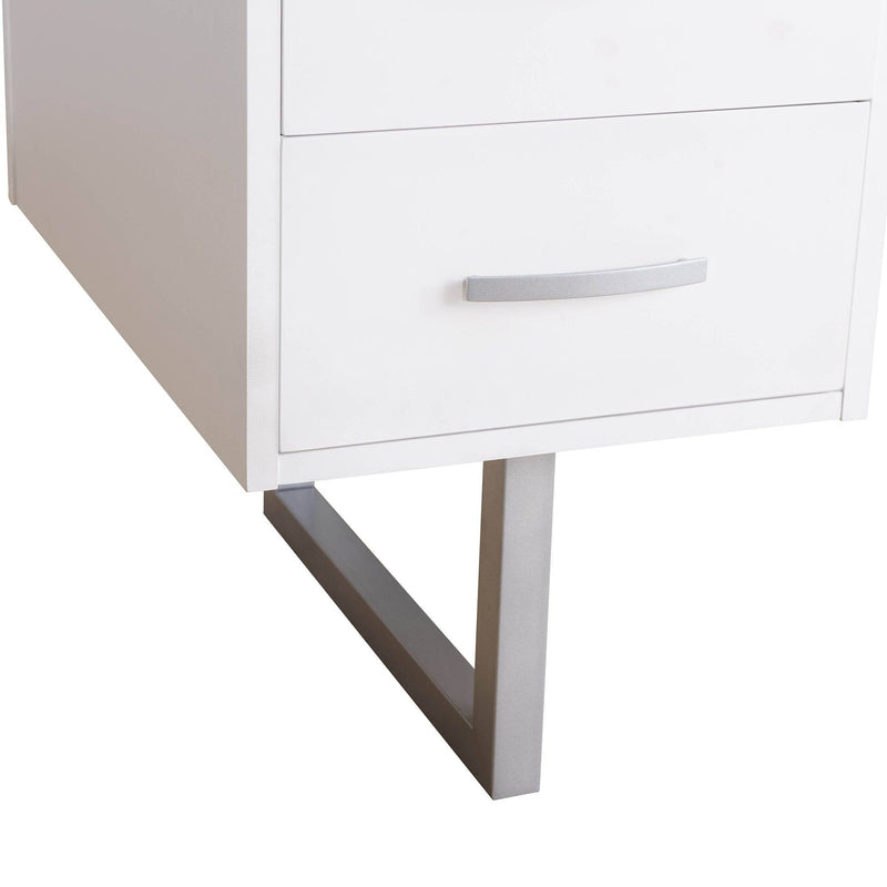 Studio Space White Deja Double 60 in. Pedestal Desk with Drawers