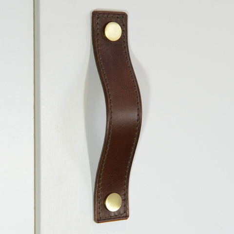 Alderney Stitched Brown Leather Door Pull with Satin Brass Fixings