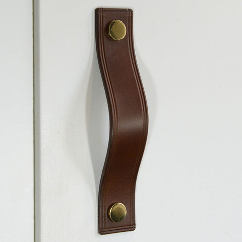 Gascon Double Creased Brown Leather Door Pull with Polished Brass Fixings