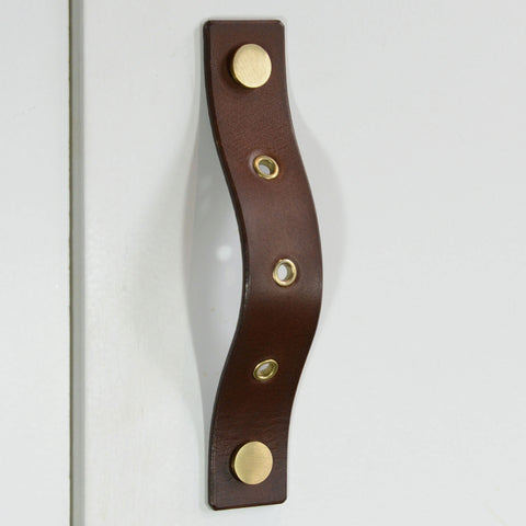 Herens Riveted Brown Leather Door Pull with Satin Brass Fixings