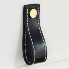Lourdais Folded Black Leather Door Pull with Polished Brass Fixings