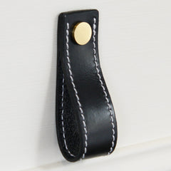 Lourdais Folded Black Leather Door Pull with Satin Brass Fixings