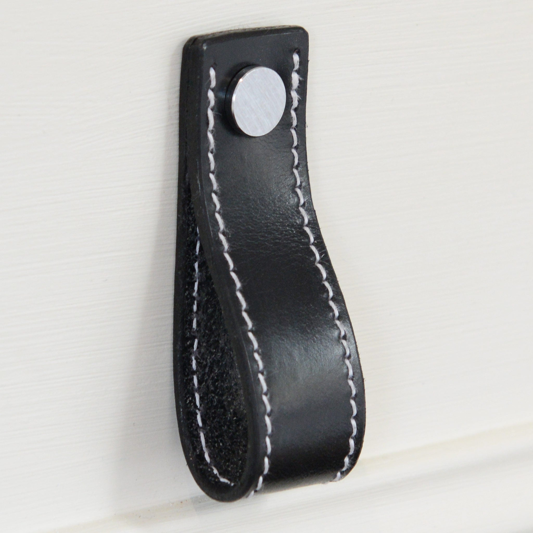 Lourdais Folded Black Leather Door Pull with Satin Chrome Fixings