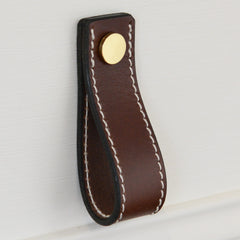 Lourdais Folded Brown Leather Door Pull with Polished Brass Fixings