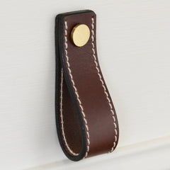 Lourdais Folded Brown Leather Door Pull with Satin Brass Fixings