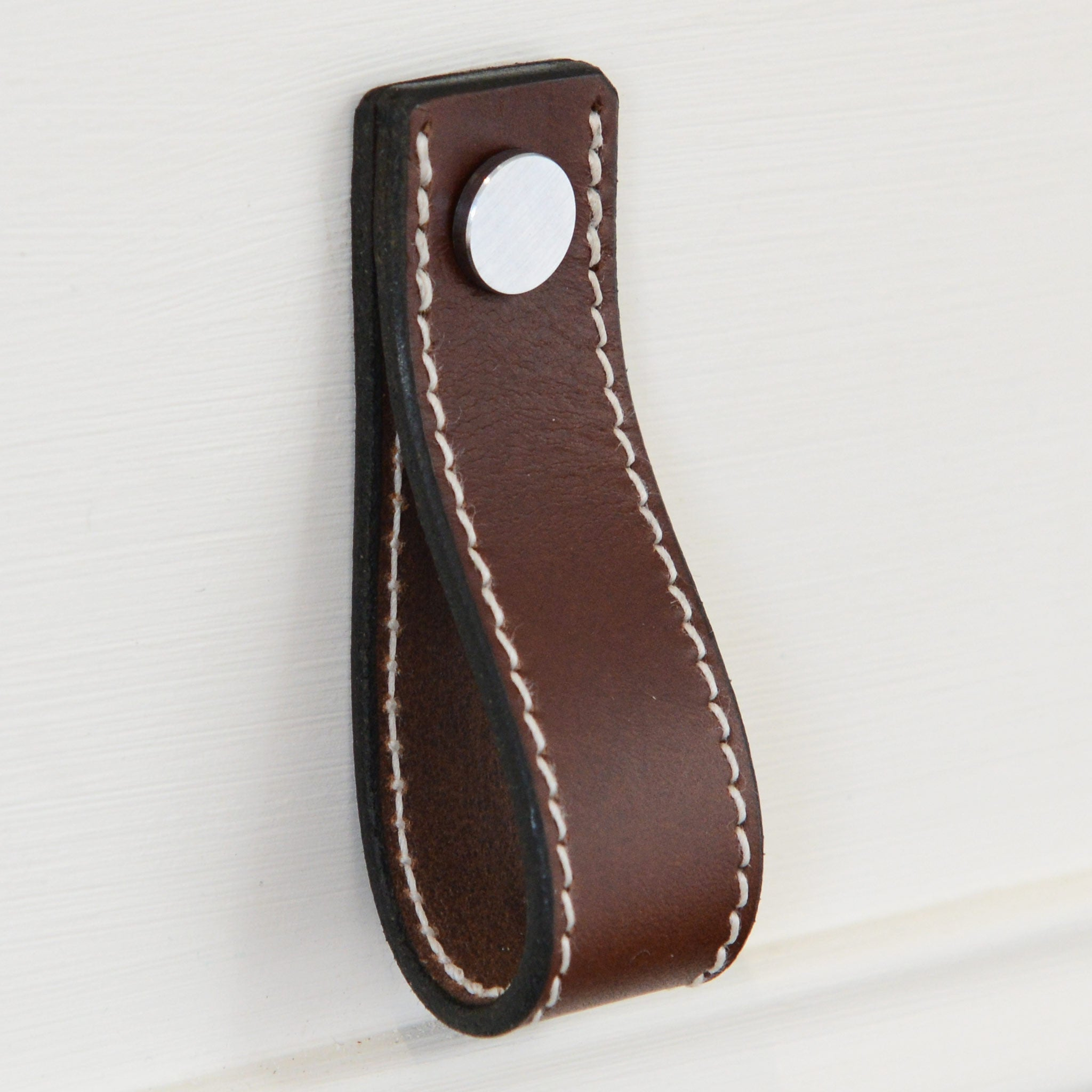 Lourdais Folded Brown Leather Door Pull with Satin Chrome Fixings