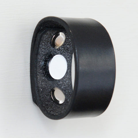 Palmera Ring Black Leather Door Pull