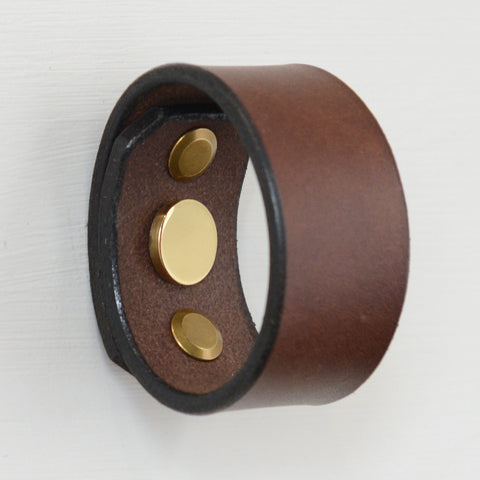 Palmera Ring Brown Leather Door Pull