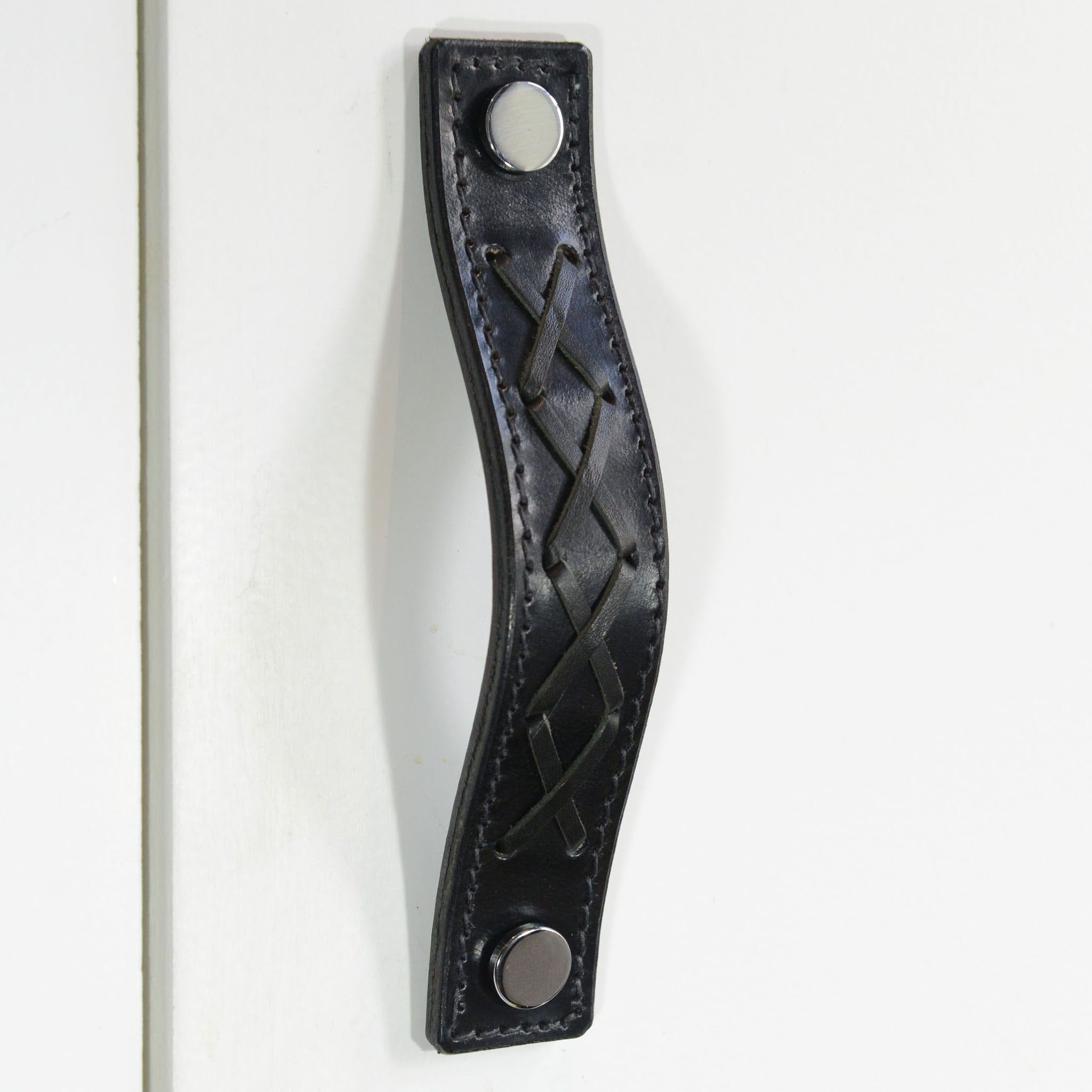 Texon Woven Black Leather Door Pull with Polished Chrome fixings
