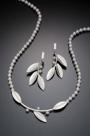 Innovations White Pearl Strand Necklace with Sterling Silver Leaves