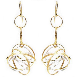 K Maley Gold & Silver Triple Ring Drop Earring