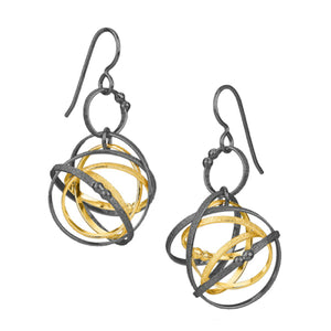K Maley Gold & Black Medium Mobius Earring
