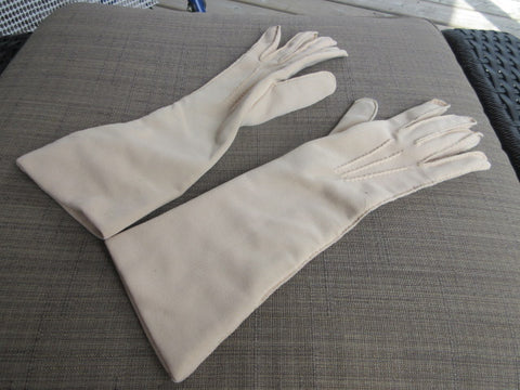 GLOVES, OFF WHITE STRETCH FABRIC, ABOVE WRIST TO BELOW ELBOW LENGTH GREAT COSTUME OR DRAMATIC COMPLIMENT TO AN EVENING! SHIPPING AND HANDLING INCLUDED