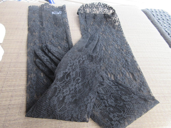 DRAMATIC BLACK LACE LOOK ELBOW LENGTH GLOVE COSTUME READY