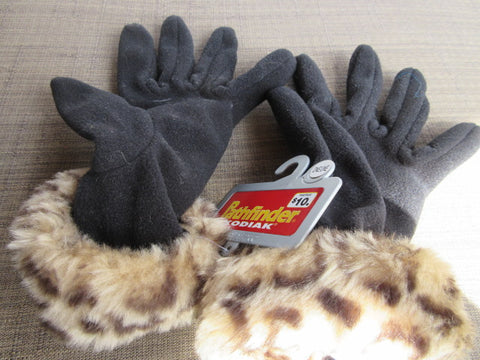 BLACK FAUX FUR CHEETAH DESIGN AT WRIST GLOVES NEW PATHFINDER KODIAK PRICE INCLUDES SHIPPING AND HANDLING