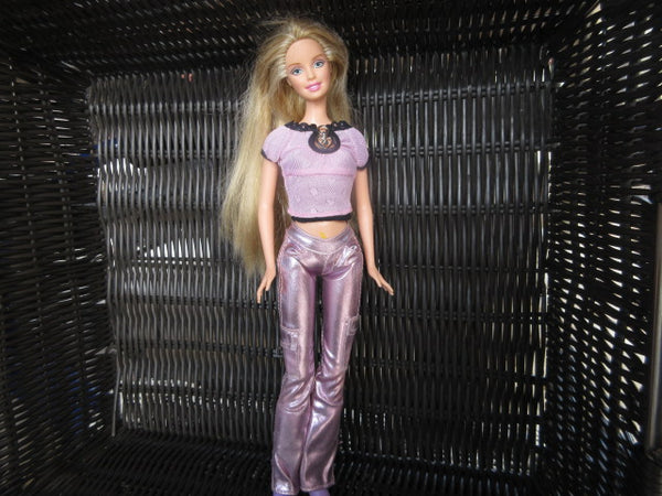 BARBIE 1999 PURPLE SATIN PANTS PURPLE T SHIRT PURPLE SHOES AS IS SHIPPING AND HANDLING INCLUDED IN PRICE