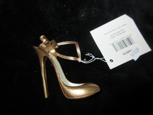 "GOLD STILETTO HEEL GIFTCRAFTSHOE 2 1/2"" WITH 2 1/2""STILETTO HEEL GREAT HANGING"
