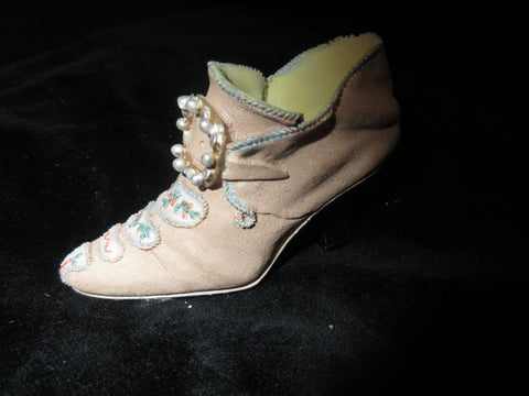 CERAMIC  DECORATIVE BROWN AND SOFT GREY WITH BEADED DRAPED OVER HEEL APPROX 4""