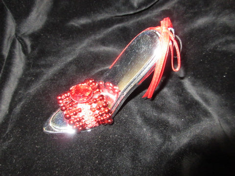 "2RED/SILVER GIFTCRAFT BEEDED DECORATIVE SLIP ON GREAT HANGING SHOE  4""  NO RETURNS!  FREE SHIPPING AND HANDLING!."