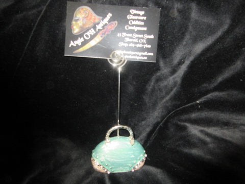 MINIATURE GREEN PURSE BUSINESS CARD OR NAME TAG HOLDER.   NO RETURNS!  FREE SHIPPING AND HANDLING!