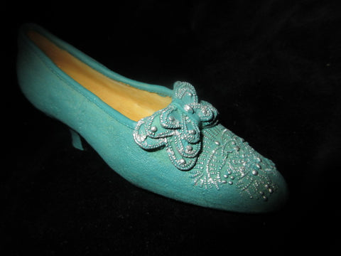MINIATURE LIGHT BLUE BUTTERFLY ON TOP SLIP ON SHOE.   NO RETURNS!  FREE SHIPPING AND HANDLING!