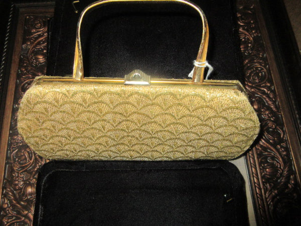 GOLD TONE SINGLE GOLD HORSESHOE HANDLE BEADED EXTERIOR, BROWN LINED WITH ZIP INSIDE CELL PHONE COMPATABLE