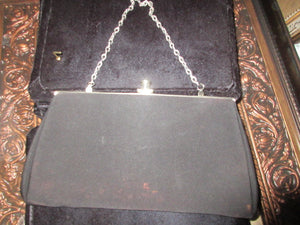 HANDMADE IN CANADA, VINTAGE BLACK SATIN LINED SINGLE SILVER SHORT CHAIN, VINTAGE EVENING BAG, CELL PHONE FRIENDLY!  NO RETURNS!  FREE SHIPPING AND HANDLING!