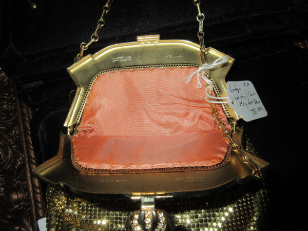 VINTAGE SIGNED WHITING AND DAVIS GOLD TONE MESH CHAIN LINKS STYLE, SATIN CORAL LINED  VINTAGE EVENING BAG GOLD CLASP WITH RHINESTONES A REAL KEEPSAKE TRADITION!