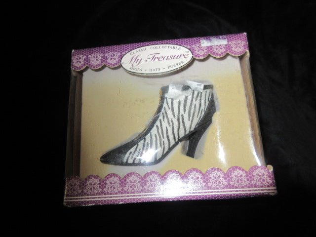 MY TREASURES CLASSIC COLLECTABLE BOXED ZEBRA STRIPE BOOTIE.   NO RETURNS!  FREE SHIPPING AND HANDLING!