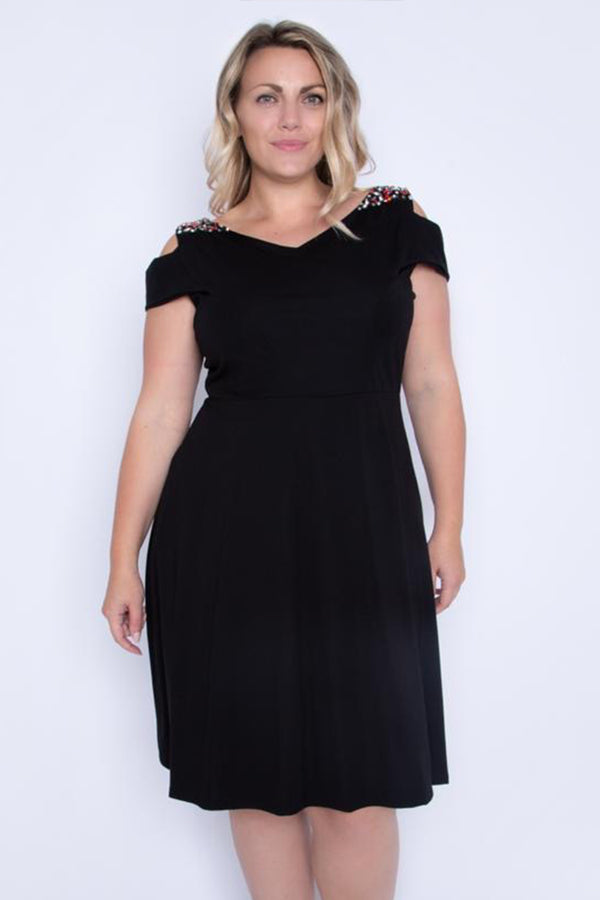 'Alex' Curve V-Neck Embellished Skater Dress