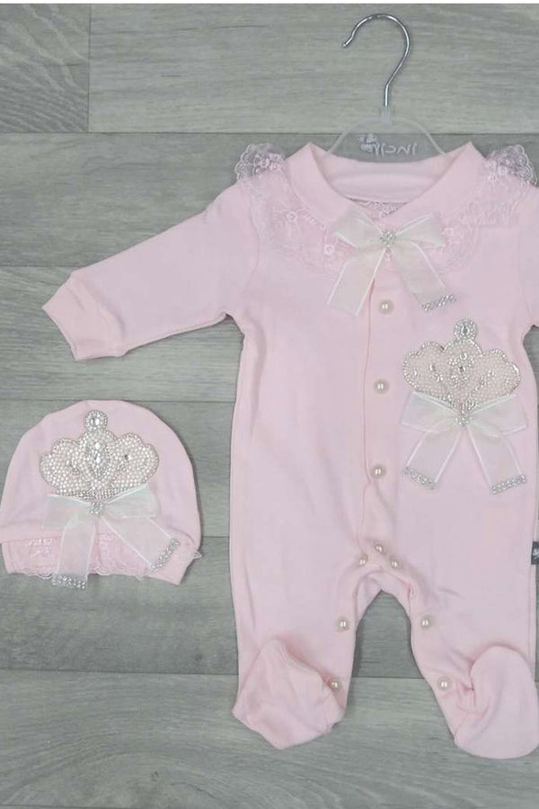 Girls Baby Pink 3pc Diamante Crown Set