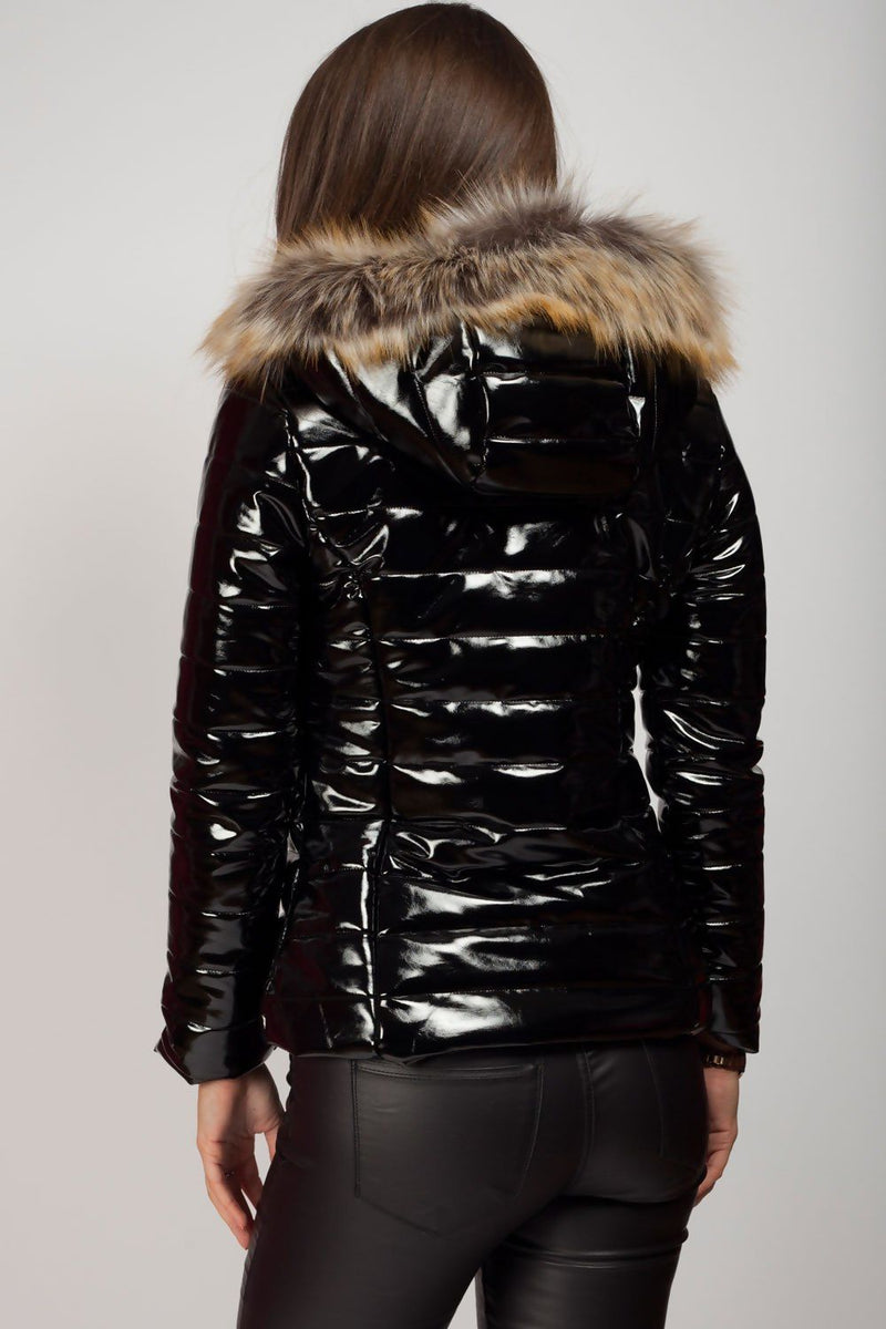 'Lexi' High Shine Faux Fur Hooded Puffer Jacket