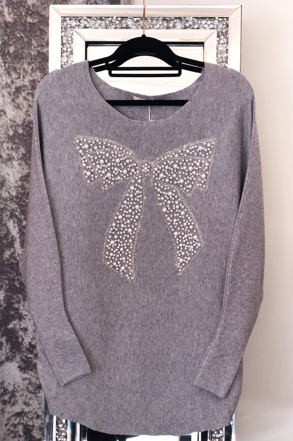 'Macey' Pearl & Diamante Embellished Bow Jumper