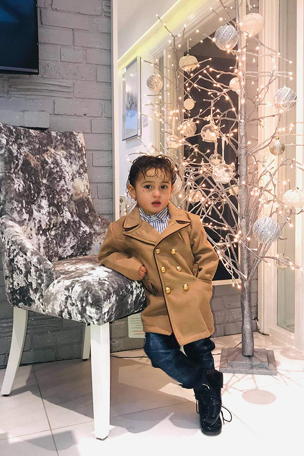 Boys Stylish 3pc Double Breasted Coat, Shirt & Jeans